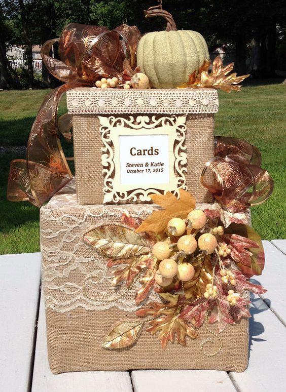 Fall wedding card boxburlap wedding card boxrustic wedding – Box for Cards at Wedding Reception