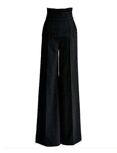 PrettyGuide Women Vintage High Waist Flare Wide Leg Long Pants