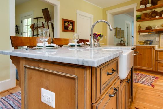 Pine Kitchen Cabinets, Knotty Pine Kitchen And Marble