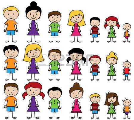 silhouette enfant: Ensemble de mignons et diverses personnes de bâton dans le Vector Format