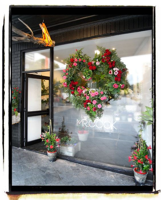 one oversized floral heart would be an ideal window display anytime of the year - just change the colour palette by: Mr Cook Sydney