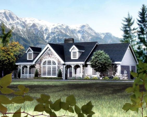 Cape Cod Cottage Country Ranch Victorian Elevation Of Plan 87808 Country Style House Plans Ranch House Plans Country House Plans