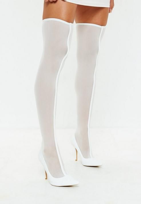 White Mesh Over The Knee Sock Boots Thigh High Sock Boots Boots Over The Knee Sock Boots