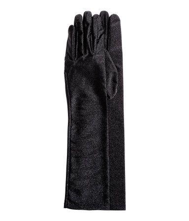 Lange Handschuhe | Schwarz/Katze | Damen | H&M DE