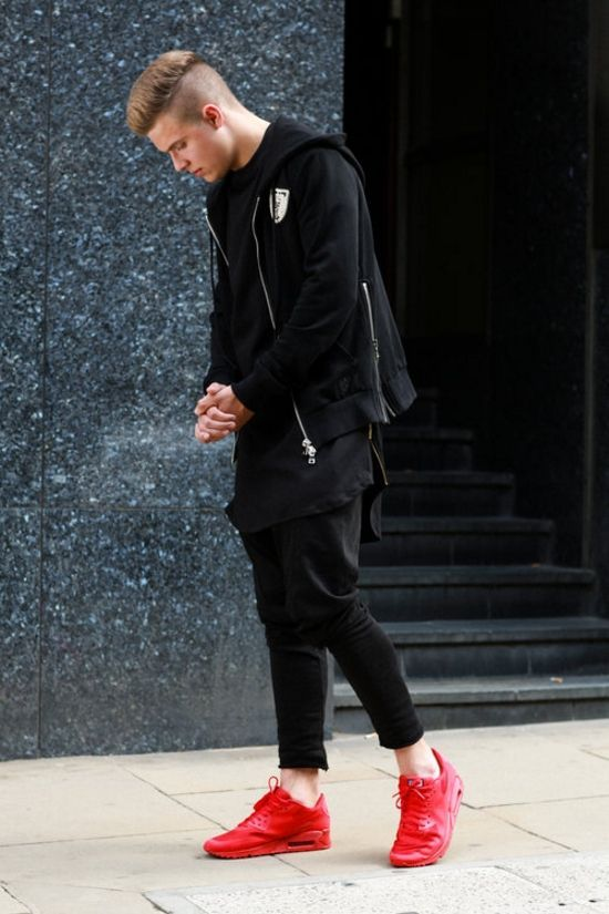 all black with red shoes