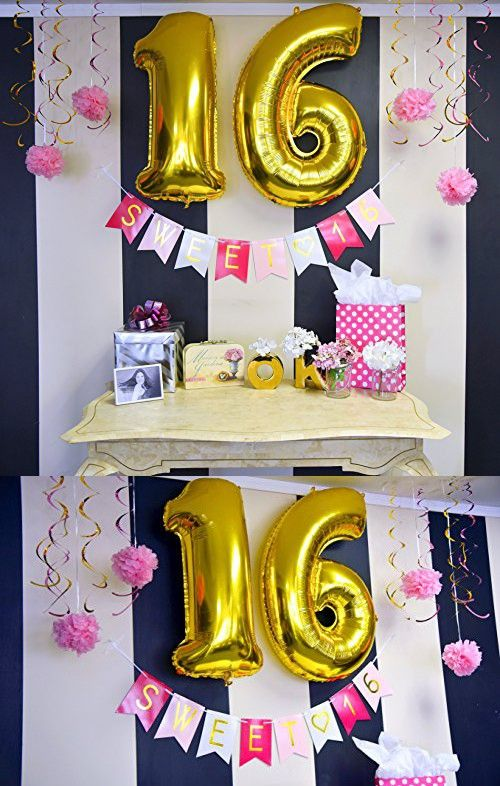 Sweet 16 Birthday Banner Sweet Sixteen Decorations Party Favors Supplies Gifts Themes And Ideas Sweet Sixteen Decorations 16th Birthday Sweet 16 Birthday