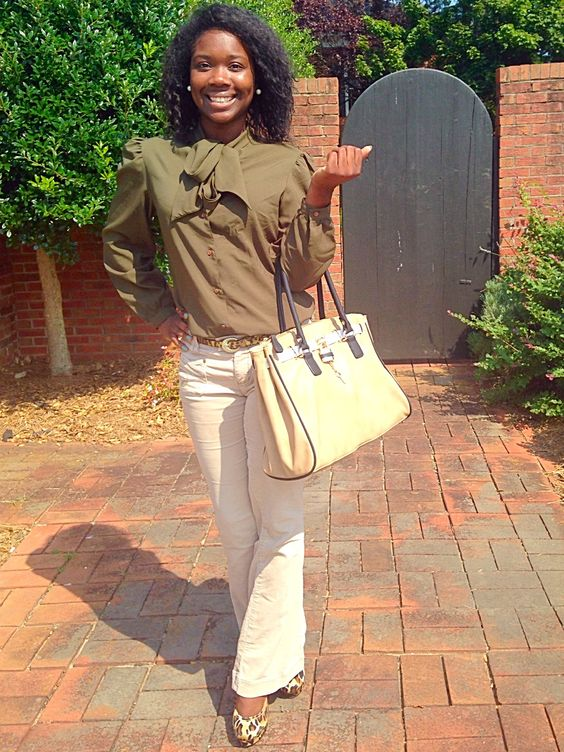 Fall outfit, Front Bow Green Blouse, Leopard Pumps, Aldo Purse