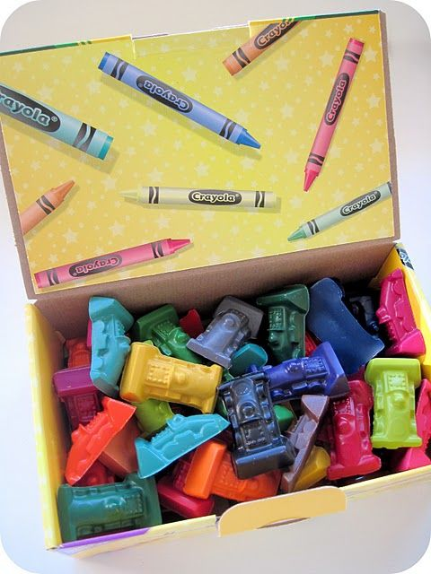 molded crayons-amazon has molds for race cars, trains, trucks and dinosaurs. raaar!