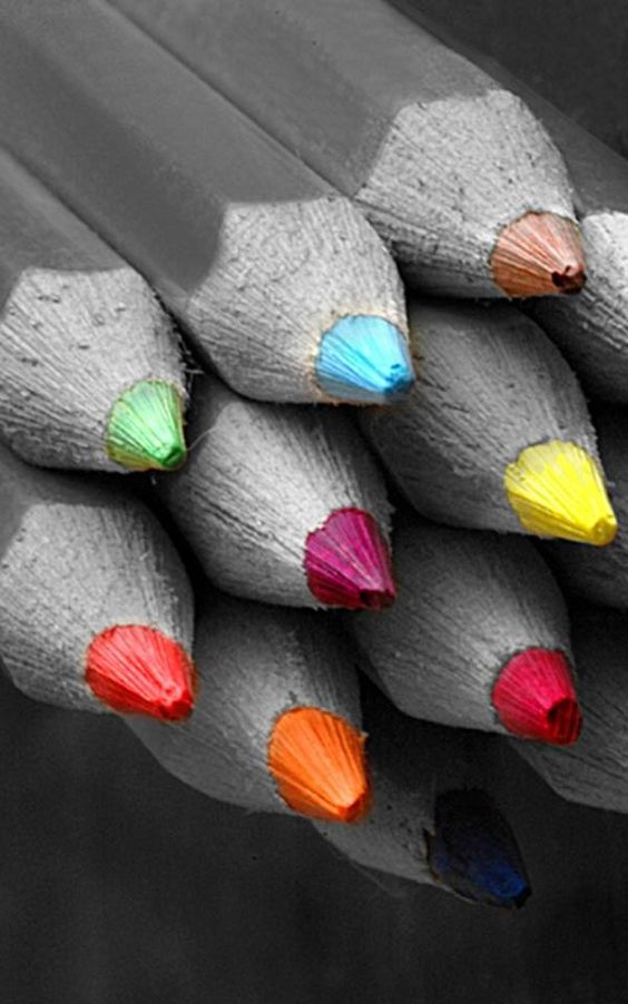 Colored tips. Alweer de potloden, maar dan vanaf de voorkant! Echt heel erg leuk gedaan!: