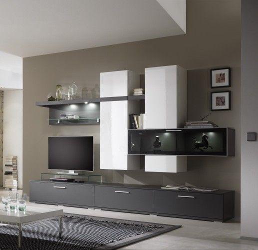 Wohnwand schwarz apartment pinterest h lzern for Wohnwand modern schwarz