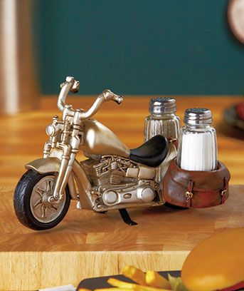 Biker wedding - Motorcycle Salt & Pepper Shaker Set that could be used for a wedding center piece