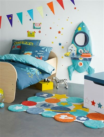 Tapis th me super h ros multicolore vertbaudet enfant 69 for Tapis chambre enfant garcon
