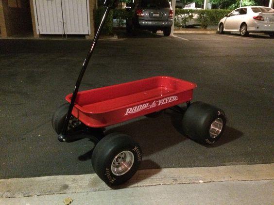 Ranger radio flyer wagon with billet aluminum hubs and Hoosier racing slicks