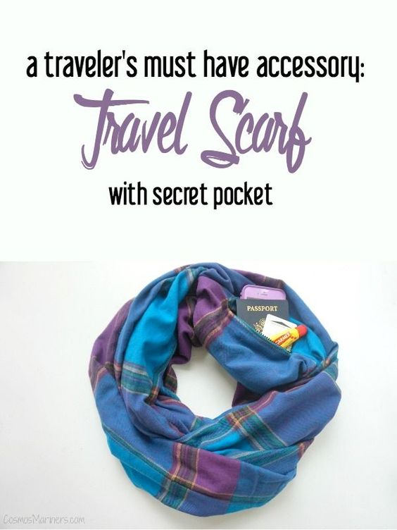 A traveler 39 s must have accessory travel scarf with secret pocket giveaway travel for Travel gear hidden pocket