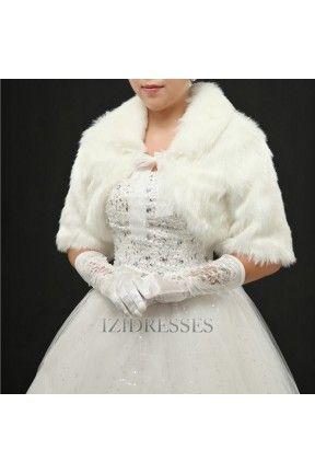 Faux Fur Wedding Wrap IZIPJ749 - IZIDRESSES.com