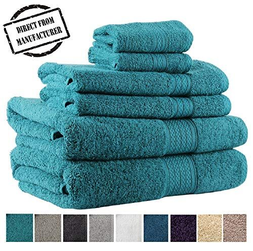 Premium 6 Piece Towel Set 2 Extra Large Bath Towels 2 Hand Towel 2 Washcloth Soft Cotton 600 Gsm Highly Absorbent By Avira Home Emerald Large Bath Towel Towel Towel Set