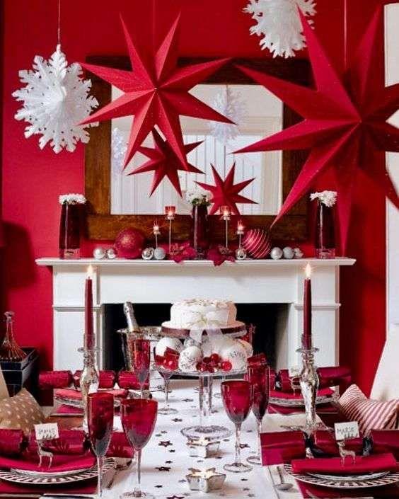 Idee per apparecchiare la tavola per la Vigilia di Natale - Tavola di Natale rossa e bianca