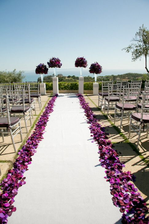 Purple Wedding Ceremony Rose Petals Purple Wedding Wedding