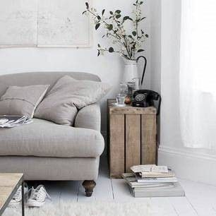 neutral living room, crate end table