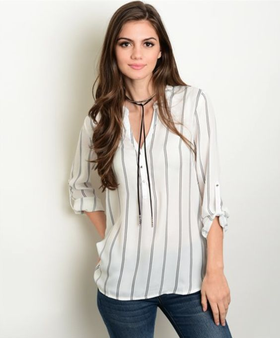 Boho Striped Blouse (Ivory)