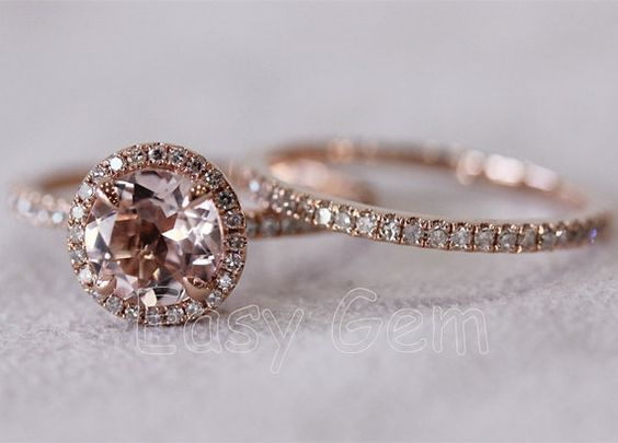 two ringsmorganite ringmorganite engagement ringrose gold engagement ring matching wedding bandemeralddiamondsapphirewedding ring style - Morganite Wedding Ring