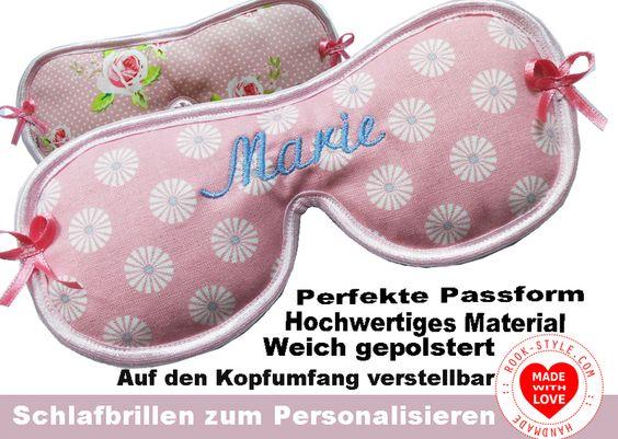 Personalisierte Schlafbrille *Sweet Roses* von Schlafbrille-Reisebrille.com ✿oder✿ RooK-Style.com auf DaWanda.com