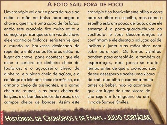 Grafados: Julio Cortázar - A Foto Saiu Fora de Foco (cronópios e famas)