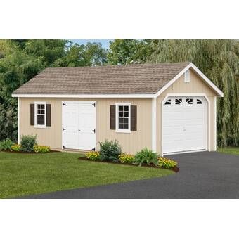 Riverside 10 Ft W X 14 Ft D Wooden Storage Shed In 2020 Wooden Garage Building A Shed Garage Shed
