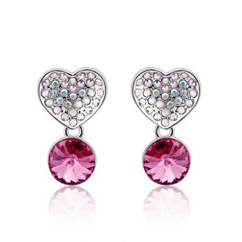 Linus Jade® Ohrringe MADE WITH SWAROVSKI® ELEMENTS Herz Rosa Crystal Anhänger