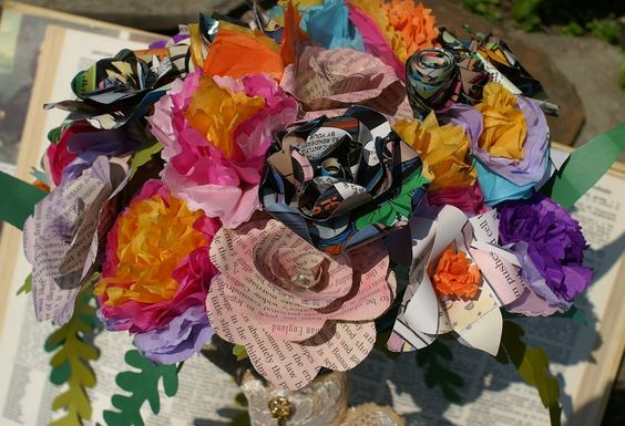 Paper Flower Wedding Bouquet- Custom Made, Bespoke Wedding, Geeky Wedding, Comic Book Bouquet, Book Page Bouquet by Papyrusaurus on Etsy
