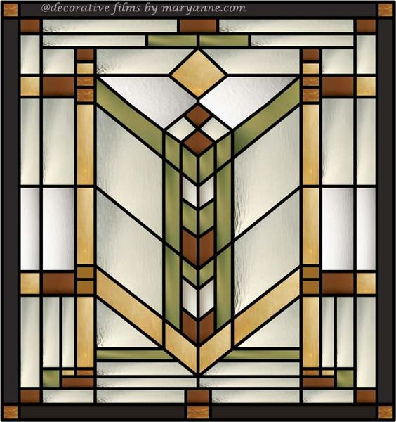 Quoitzel Stained Glass Window Clings for clear transom windows. Use a craftsman/mission style pattern like this and place one on each side to up the 'real' factor.