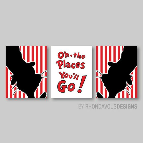 dr seuss cat in the hat print trio decor nursery child dr seuss bedroom reveal