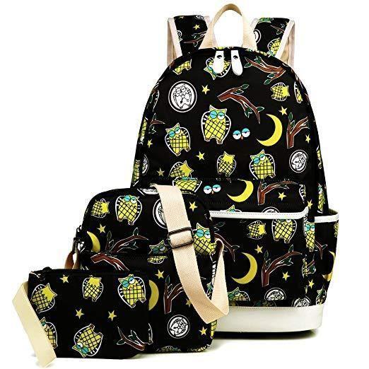 Women Shoulder Bag Pencil Handbag Tote Cute Owl Pattern Backpack School Bookbag