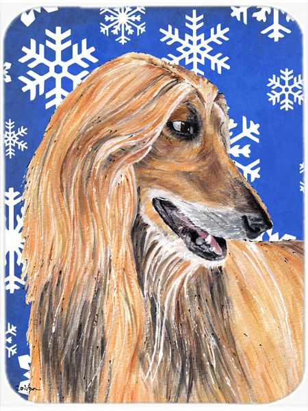 Afghan Hound Winter Snowflakes Holiday Mouse Pad - Hot Pad or Trivet SC9499MP #artwork #artworks