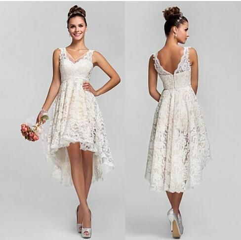 Beach Short Lace Wedding Dresses With V Neck Backless A Line High Low Hot Custom Made Charming Beach Garden Ivory Bridal Gowns In 2020 Wedding Dresses High Low Short Lace Wedding