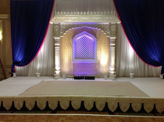 Navy and white head table decor for wedding.  South Asian wedding decor by Alankar in Massachusetts