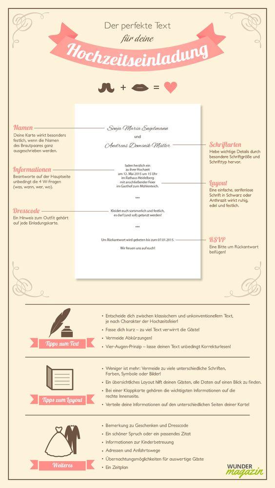 Infografik zu Hochzeitseinladung Text
