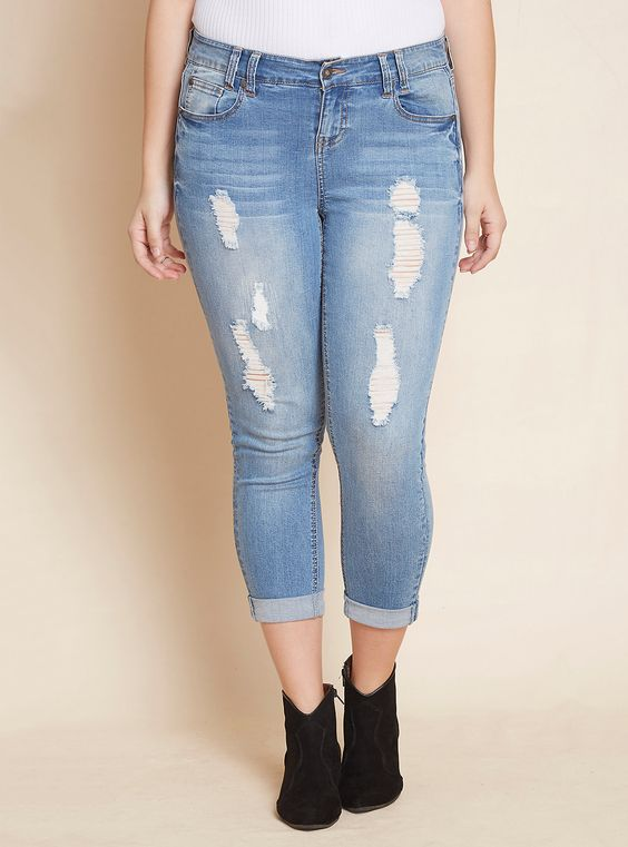 Skinny Jeans with Double Rolled Hem - Light Wash with Destruction | LOVESICK
