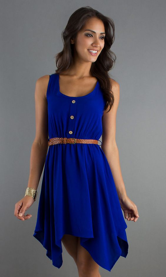 Blue Scoop Neck Sundress, Handkerchief Dress - Simply Dresses | I ...