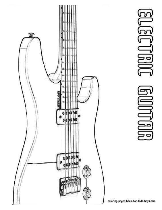 Classic electric guitar coloring page you can print out for Electric guitar coloring page