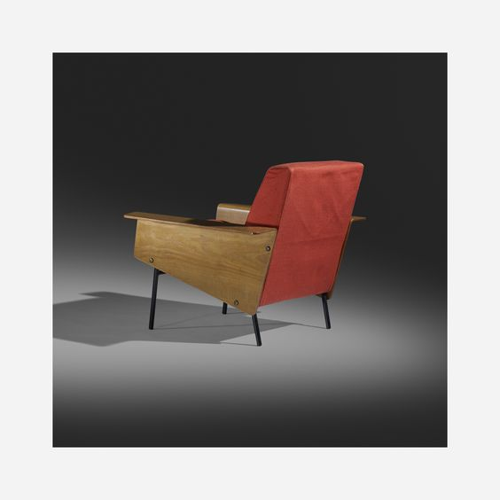 Pierre Guariche - G10 lounge chair, Airborne International, France, 1954, ash plywood, upholstery, enameled steel, brass