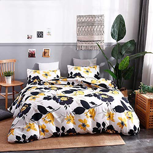 Kinbedy 3 Pieces White Bedding Yellow Flowers Printed Col Https Www Amazon Com Dp B07t2wzqbc Ref Cm Elegant Bedding Sets Elegant Bedding Duvet Cover Sets