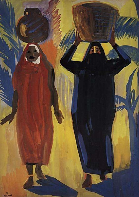 1912 Египетские женщины. Темпера, бумага. 76.7х58.3 ГРМ - Сарьян Мартирос Сергеевич