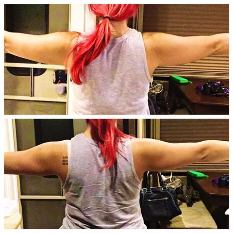 """Check our Jessica's results! """"When you wear a wrap for an hour while watching Netflix and your arms are suddenly thinner. oh hayyyyy!""""   Order today and I'll send you a three day sample supply of our new, gluten free Greens! <3"""
