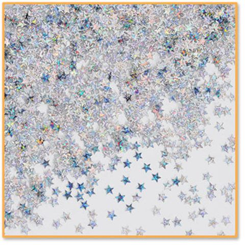 silver holographic stars confetti Case of 6