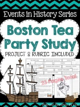 The Boston Tea Party Study and Project is a part of The Events in History Series. This product includes a complete study of the Boston Tea Party and includes activities, graphic organizers, a writing prompt with a rubric, practice pages and a project with a rubric.