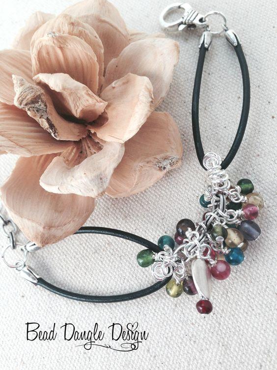 Multi-Color Glass Beaded Black Leather Bracelet