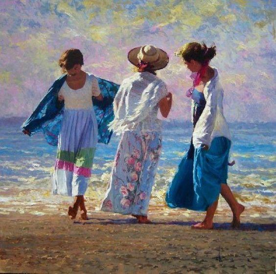 (Australia) Three women on the beach by Robert Hagan (1947-  ). oil on canvas.