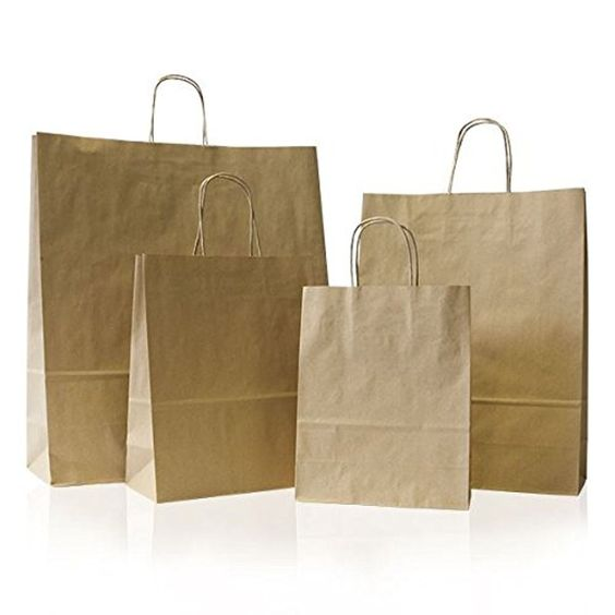 1 Brown Paper Carrier Bags Small 18cm X 25cm 8cm Premium