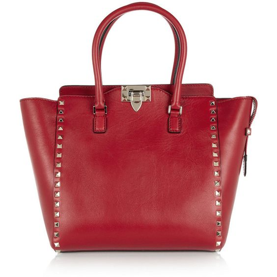 Valentino The Rockstud medium leather trapeze bag ($1,895) ❤ liked on Polyvore
